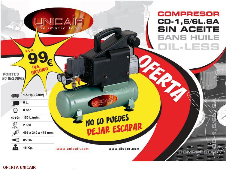 Oferta compresor 6 litros sin aceite ferreter a cubas - Compresor 6 litros ...